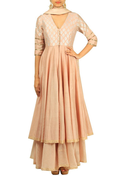 Beige chanderi silk embroidered Anarkali suit with flared pants for online shopping in USA. Make your ethnic wardrobe complete with an exquisite collection of Indian designer clothing from Pure Elegance clothing store in USA. A splendid variety of designer dresses, designer lehenga choli, salwar suits will leave you wanting for more. Shop now.-full view