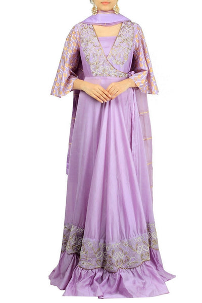 Mauve color chanderi silk embroidered floor-length kurta with flared sleeves for online shopping in USA. Make your ethnic wardrobe complete with an exquisite collection of Indian designer clothing from Pure Elegance clothing store in USA. A splendid variety of designer dresses, designer lehenga choli, salwar suits will leave you wanting for more. Shop now.-full view