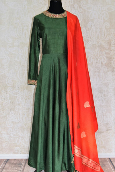 Shop dark green embroidered silk Anarkali suit with dupatta online in USA. Shop more such Indian designer Anarkali suits, designer Indian dresses, wedding dresses in USA from Pure Elegance clothing fashion store this wedding season.-full view