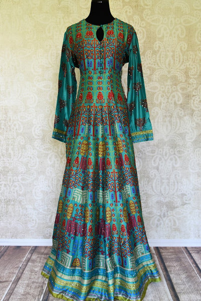 Shop green printed silk floorlength Anarkali with embroidery online in USA from Pure Elegance. Make every occasion special with stunning Indian designer clothing, Anarkali suits, wedding dresses, designer gowns from our Indian clothing store in USA. -full view
