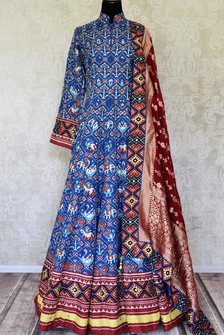 Buy blue ikat silk floorlength Anarkali with dupatta online in USA from Pure Elegance. Make every occasion special with stunning Indian designer clothing, Anarkali suits, wedding dresses, designer gowns from our Indian clothing store in USA. -full view