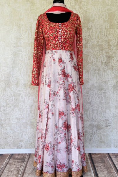 Shop pink floral print and embroidered net silk Anarkali with dupatta online in USA from Pure Elegance. Be an epitome of Indian fashion on special occasions with beautiful designer suits, wedding lehengas, Anarkali suits available at our Indian fashion store in USA. -full view