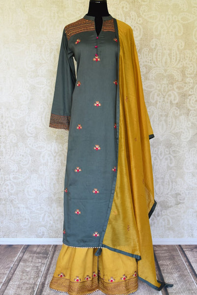 Shop grey embroidered cotton silk suit with yellow palazzo online in USA. Be the talk of every occasion in beautiful Indian designer dresses, Anarkali suits, weddings dresses from Pure Elegance clothing fashion store in USA this wedding season.-full view