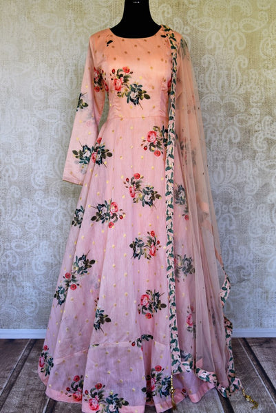 Shop pink printed silk floorlength Anarkali suit with dupatta online in USA. Shop more such Indian designer Anarkali suits, designer Indian dresses, wedding dresses in USA from Pure Elegance clothing fashion store this wedding season.-full view