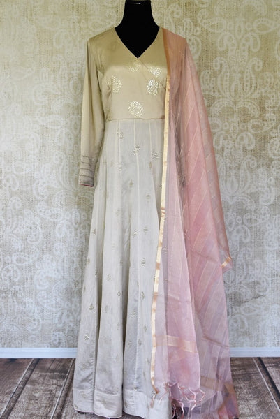 Shop beige color badla work silk floorlength Anarkali suit with dupatta online in USA. Shop more such Indian designer Anarkali suits, designer Indian dresses, wedding dresses in USA from Pure Elegance clothing fashion store this wedding season.-full view