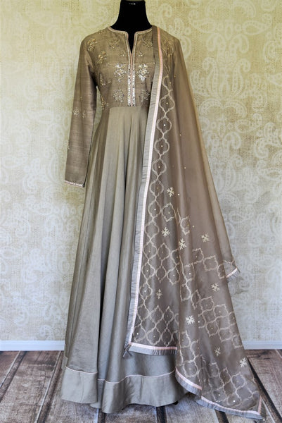 Buy grey color embroidered floorlength silk Anarkali suit with dupatta online in USA. Shop more such traditional Indian suits, designer wedding dresses, Anarkali suits in USA from Pure Elegance clothing fashion store this wedding season.-full view