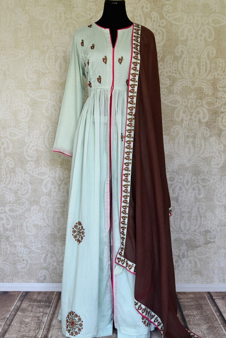 Shop mint green embroidered silk floorlength Anarkali suit with dupatta online in USA. Shop more such Indian designer Anarkali suits, designer Indian dresses, wedding dresses in USA from Pure Elegance clothing fashion store this wedding season.-full view