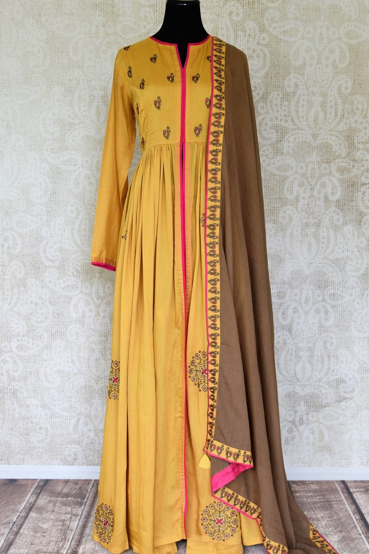 d5729736fb Buy mustard color embroidered silk floorlength Anarkali suit with brown  dupatta online in USA. Shop
