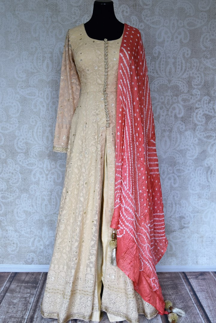Buy beige embroidered georgette sharara online in USA with palazzo and dupatta from Pure Elegance. Add exquisite Indian designer suits, Indian dresses, wedding lehengas in beautiful styles and designs to your ethnic wardrobe from our Indian clothing store in USA or shop online.-full view