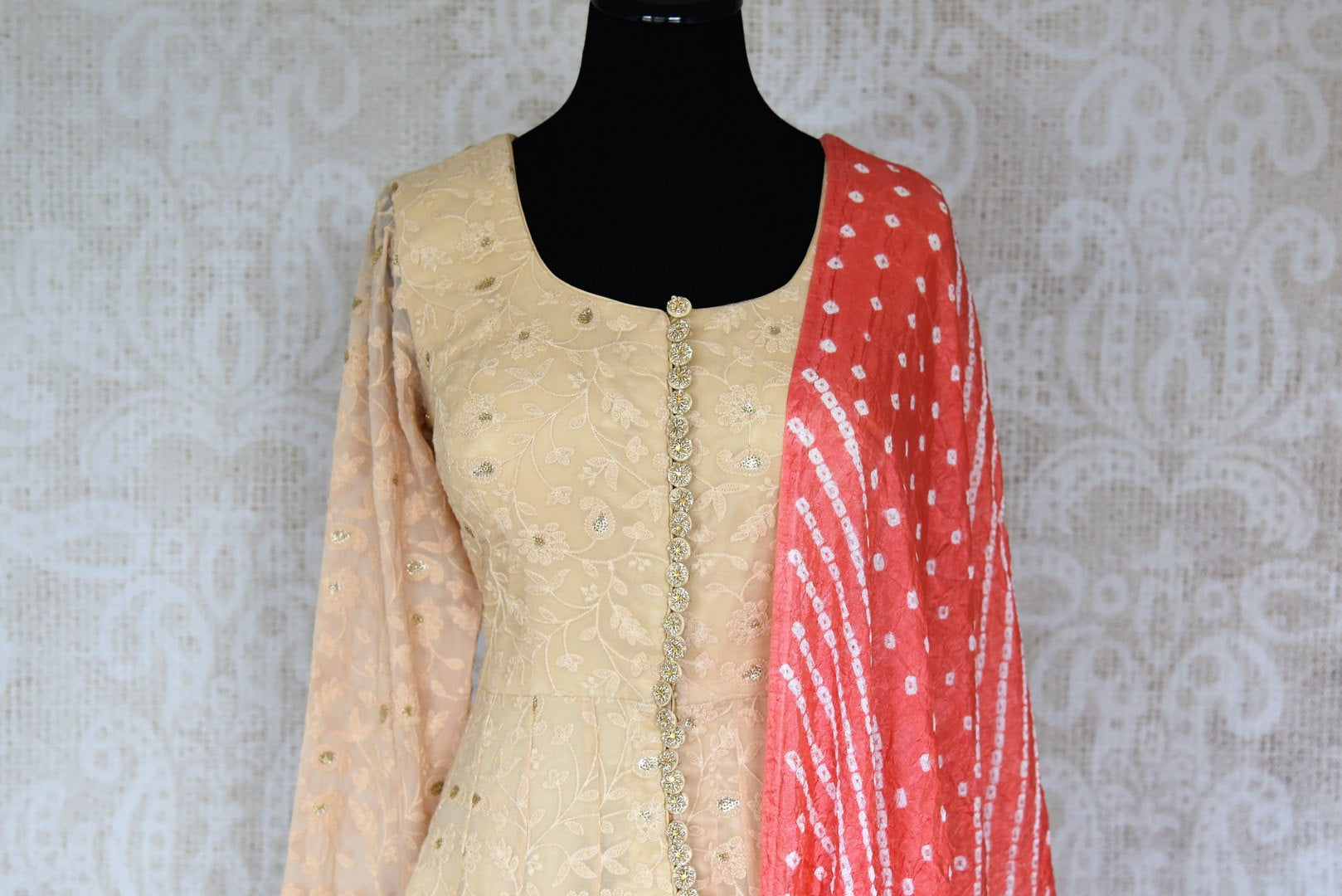 Buy beige embroidered georgette sharara online in USA with palazzo and dupatta from Pure Elegance. Add exquisite Indian designer suits, Indian dresses, wedding lehengas in beautiful styles and designs to your ethnic wardrobe from our Indian clothing store in USA or shop online.-front
