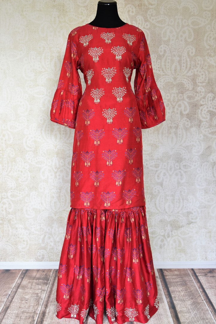 c04c97b76f Shop red embroidered silk suit with matching palazzo online in USA from Pure  Elegance. Add