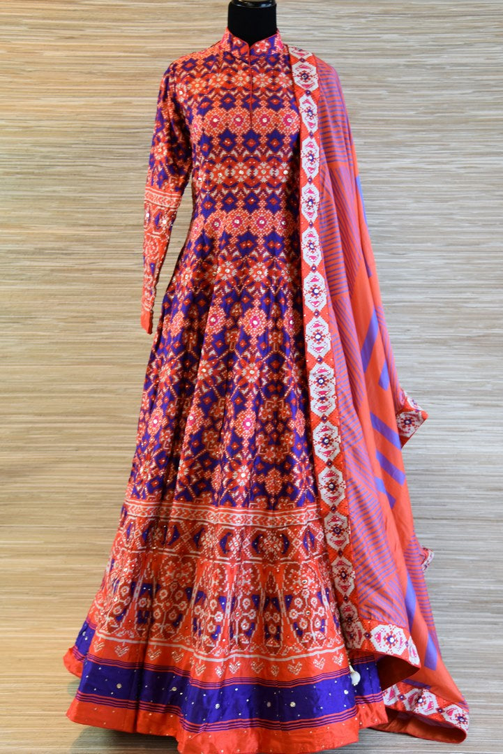 Buy orange and blue chanderi silk patola print floor length Anarkali suit online in USA. Be the talk of every occasion with exquisite Indian designer suits from Pure Elegance Indian clothing store in USA. -full view