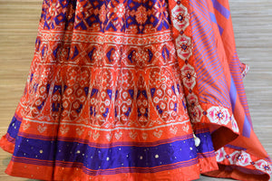 Buy orange and blue chanderi silk patola print floor length Anarkali suit online in USA. Be the talk of every occasion with exquisite Indian designer suits from Pure Elegance Indian clothing store in USA. -bottom