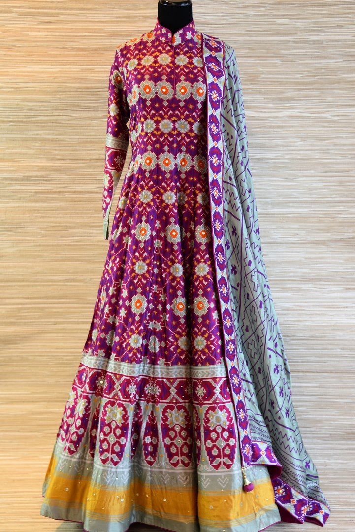 Buy purple and grey chanderi silk patola print floor length Anarkali suit online in USA. Be the talk of every occasion with exquisite Indian designer suit from Pure Elegance Indian clothing store in USA. -full view