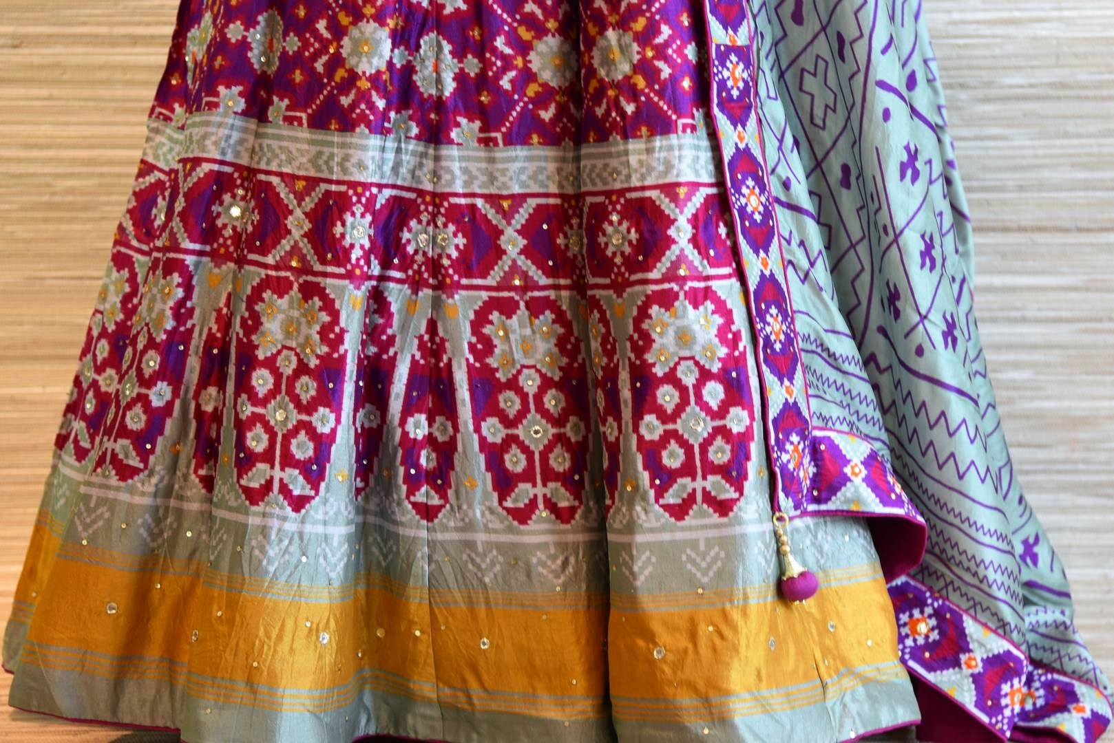 Buy purple and grey chanderi silk patola print floor length Anarkali suit online in USA. Be the talk of every occasion with exquisite Indian designer suit from Pure Elegance Indian clothing store in USA. -bottom