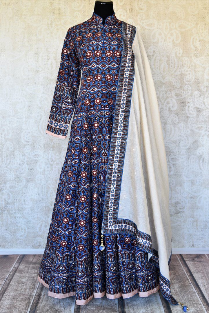 Buy blue Kalamkari print silk Anarkali suit online in USA with gota work. Make your party style absolutely special with beautiful Indian designer suits from Pure Elegance Indian fashion store in USA. Get floored with a range of beautiful Anarkali suits, designer lehengas, Indian dresses all under one roof for Indian women in USA.-full view