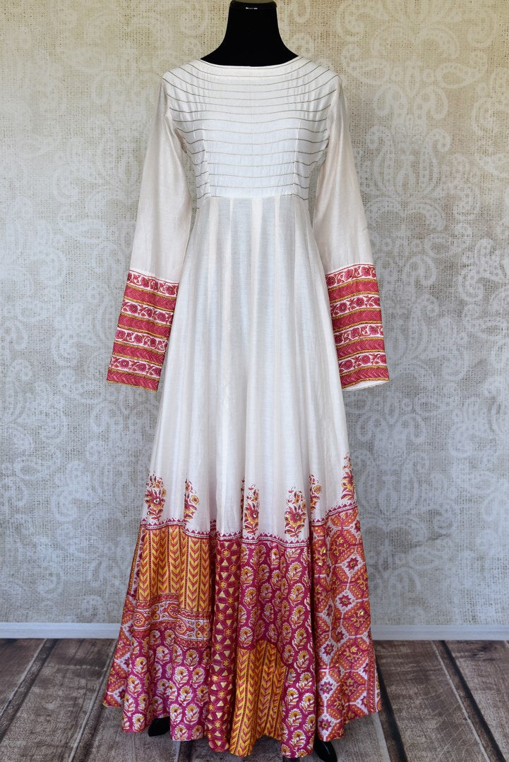 Shop white hand work chanderi silk Anarkali dress online in USA. Shop more such exquisite Indian dresses in USA from Pure Elegance. Get floored by a range of designer Anarkali suits, wedding lehengas, bridal saris at our Indian fashion store in USA-full view