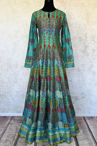 Buy green printed crepe silk Anarkali dress online in USA with handwork. Make your party style absolutely special with beautiful Indian designer suits from Pure Elegance Indian fashion store in USA. Get floored with a range of beautiful Anarkali suits, designer lehengas, Indian dresses all under one roof for Indian women in USA.-full view