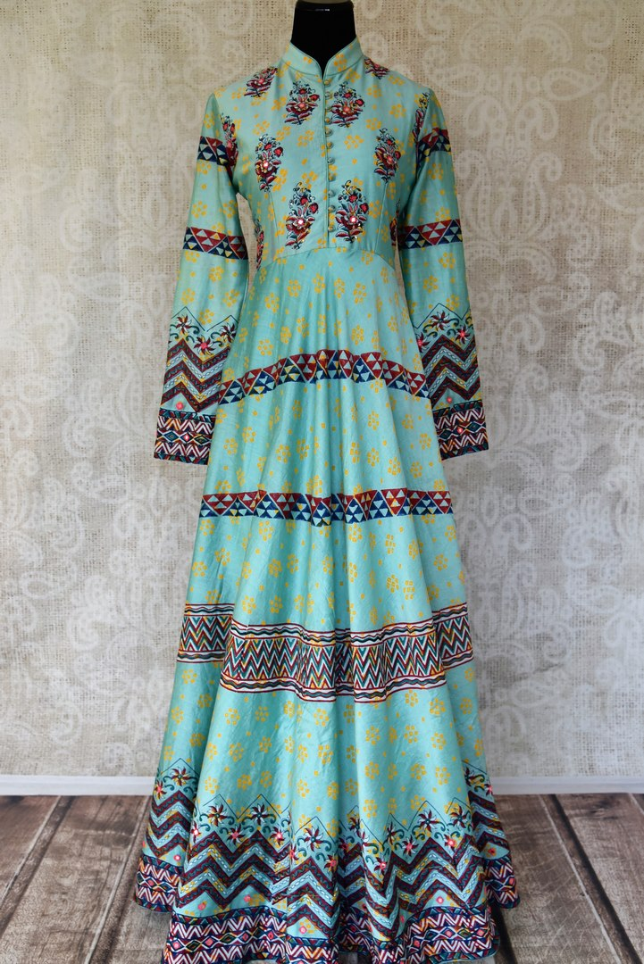 Shop light blue printed and embroidered silk Anarkali dress online in USA. Be the talk of weddings and special occasions with a splendid collection of Indian designer suits from Pure Elegance Indian clothing store in USA. We have a spectacular range of designer dresses, designer lehengas for Indian women in USA.-full view