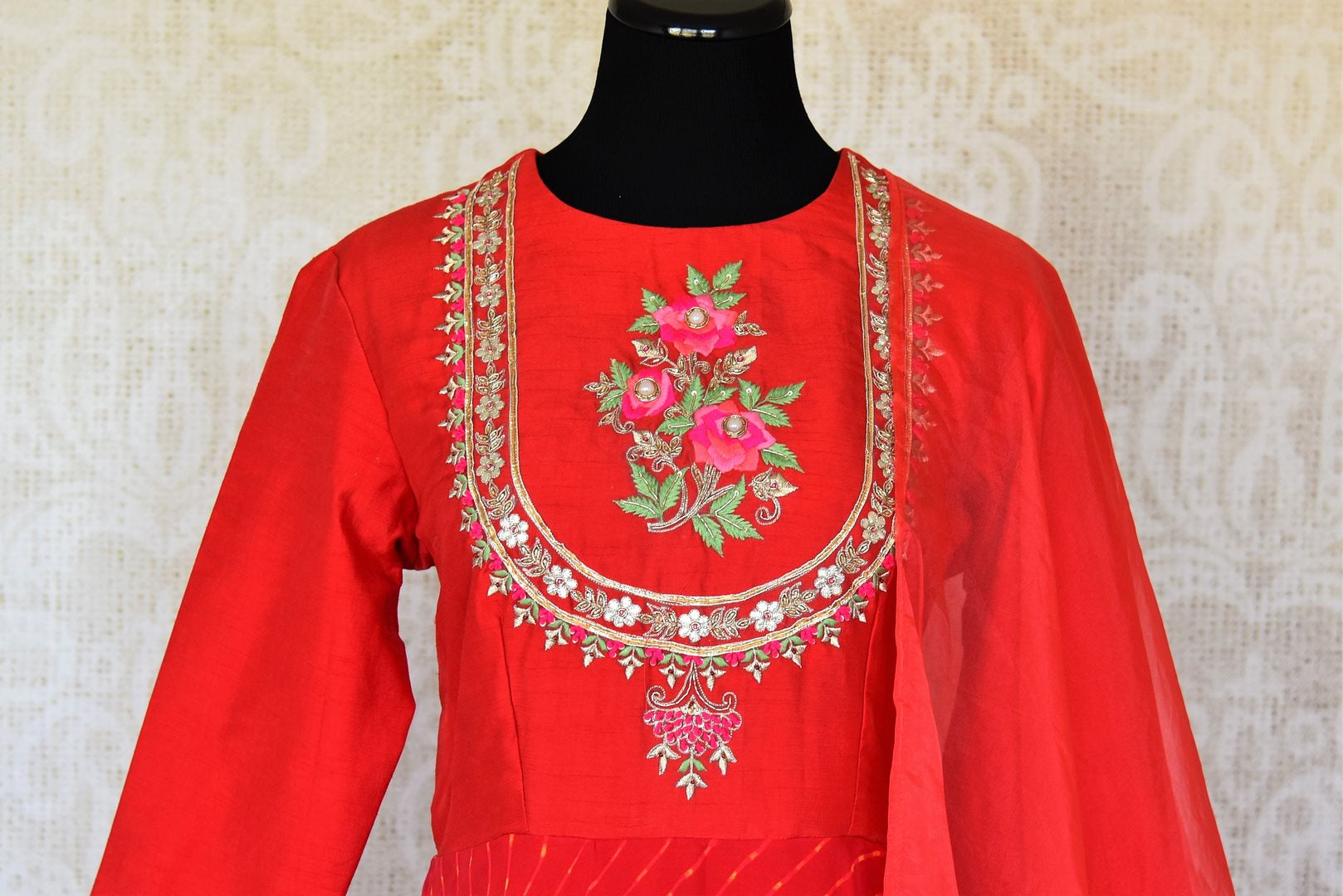Shop red silk georgette embroidered Anarkali suit online in USA. Be the talk of weddings and special occasions with a splendid collection of Indian designer suits from Pure Elegance Indian clothing store in USA. We have a spectacular range of designer dresses, designer lehengas for Indian women in USA.-front