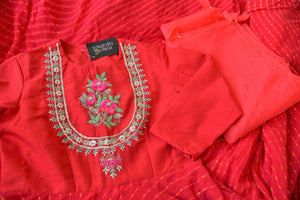 Shop red silk georgette embroidered Anarkali suit online in USA. Be the talk of weddings and special occasions with a splendid collection of Indian designer suits from Pure Elegance Indian clothing store in USA. We have a spectacular range of designer dresses, designer lehengas for Indian women in USA.-details