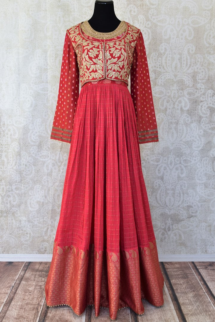 Red embroidered chanderi silk floorlength Anarkali for online shopping in USA. Get floored by a vibrant collection of Indian clothing at Pure Elegance Indian fashion store in USA. Choose from a beautiful range of Indian designer suits, Anarkalis, designer lehengas for weddings and special occasions.-full view