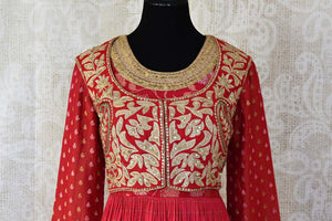 Red embroidered chanderi silk floorlength Anarkali for online shopping in USA. Get floored by a vibrant collection of Indian clothing at Pure Elegance Indian fashion store in USA. Choose from a beautiful range of Indian designer suits, Anarkalis, designer lehengas for weddings and special occasions.-front