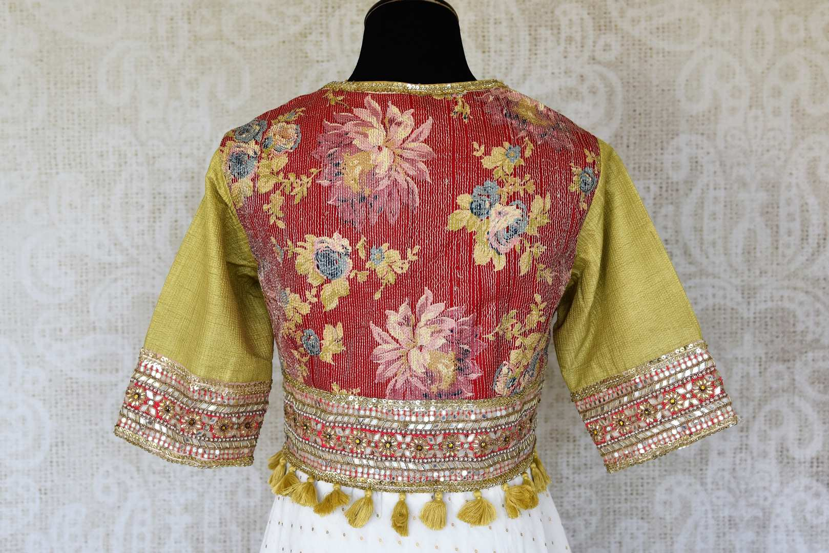 Shop white and green hand embroidery silk Anarkali dress online in USA. Raise your ethnic style quotient at special occasions with exquisite Indian clothing from Pure Elegance Indian clothing store in USA. Pick from a tasteful collection of designer lehengas, Anarkali suits, Indian dresses. Shop now.-back