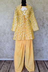 Shop yellow cotton silk embroidered salwar suit online in USA. Make special occasions even more special with your captivating traditional style in designer salwar suits from Pure Elegance Indian clothing in USA.-full view