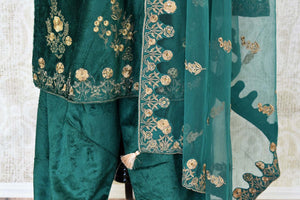 Elegant dark green embroidered velvet salwar suit with dupatta for online shopping in USA. Get floored by a vibrant collection of Indian clothing at Pure Elegance Indian fashion store in USA. Choose from a beautiful range of Indian Salwar suits, Anarkalis, designer lehengas for weddings and special occasions.-salwar
