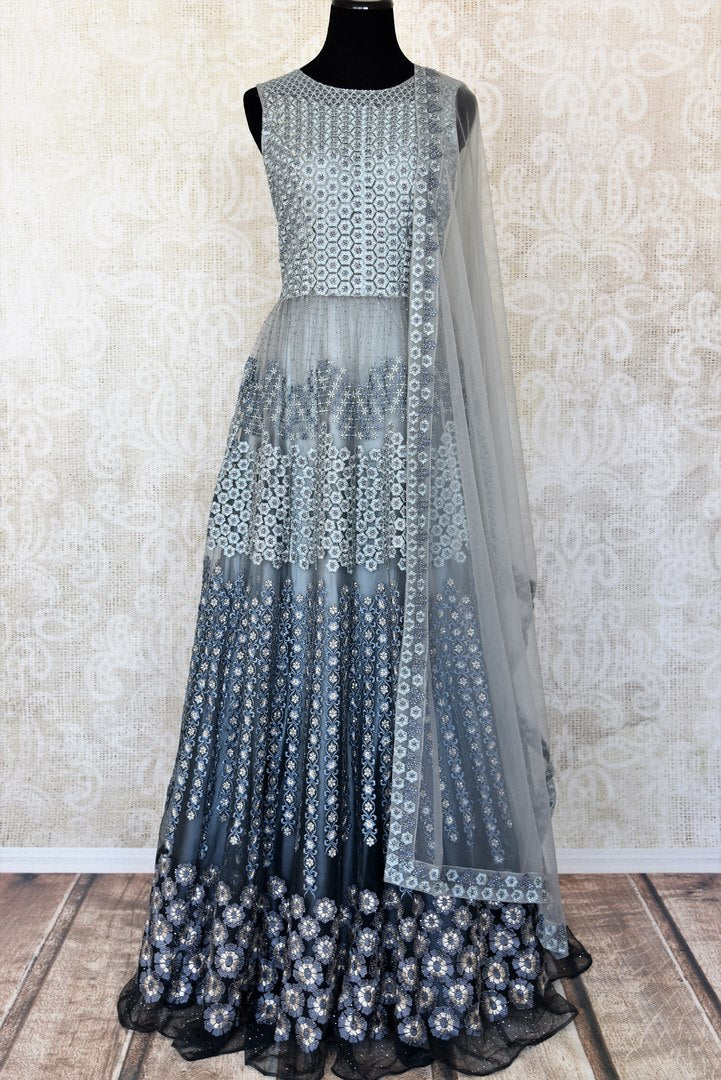 Grey embroidered floorlength net Anarkali for online shopping in USA with dupatta. Get floored by a vibrant collection of Indian designer clothes at Pure Elegance Indian fashion store in USA. Choose from a beautiful range of Indian wedding dresses, designer lehengas and suits for special occasions.-full view