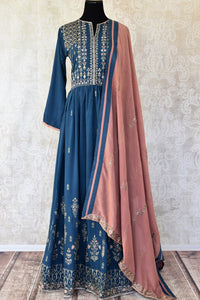 Buy dark blue embroidered cotton silk Anarkali suit online in USA with dupatta. Keep your wardrobe update with latest Indian clothing from Pure Elegance Indian fashion store in USA. Shop beautiful Indian designer lehengas, Anarkali suits, gowns for Indian women in USA from our online store.-full view