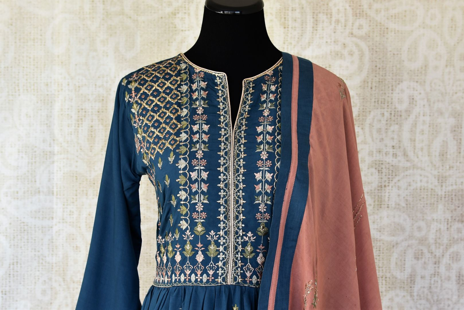 Buy dark blue embroidered cotton silk Anarkali suit online in USA with dupatta. Keep your wardrobe update with latest Indian clothing from Pure Elegance Indian fashion store in USA. Shop beautiful Indian designer lehengas, Anarkali suits, gowns for Indian women in USA from our online store.-front