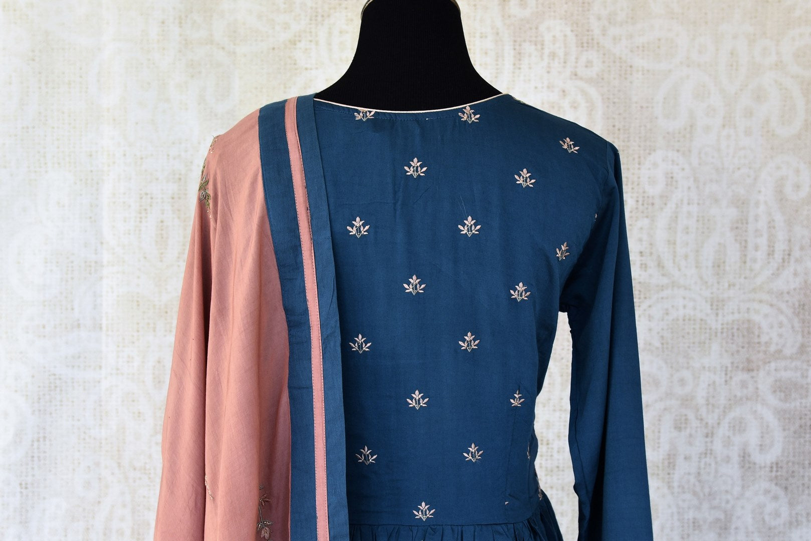 Buy dark blue embroidered cotton silk Anarkali suit online in USA with dupatta. Keep your wardrobe update with latest Indian clothing from Pure Elegance Indian fashion store in USA. Shop beautiful Indian designer lehengas, Anarkali suits, gowns for Indian women in USA from our online store.-back