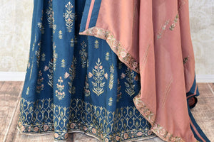 Buy dark blue embroidered cotton silk Anarkali suit online in USA with dupatta. Keep your wardrobe update with latest Indian clothing from Pure Elegance Indian fashion store in USA. Shop beautiful Indian designer lehengas, Anarkali suits, gowns for Indian women in USA from our online store.-bottom