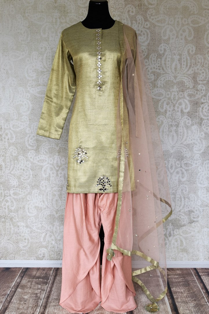 Buy golden and pink mirror work silk salwar suit online in USA with dupatta. Keep your wardrobe update with latest Indian clothing from Pure Elegance Indian fashion store in USA. Shop beautiful Indian designer lehengas, Anarkali suits, gowns for Indian women in USA from our online store.-full view
