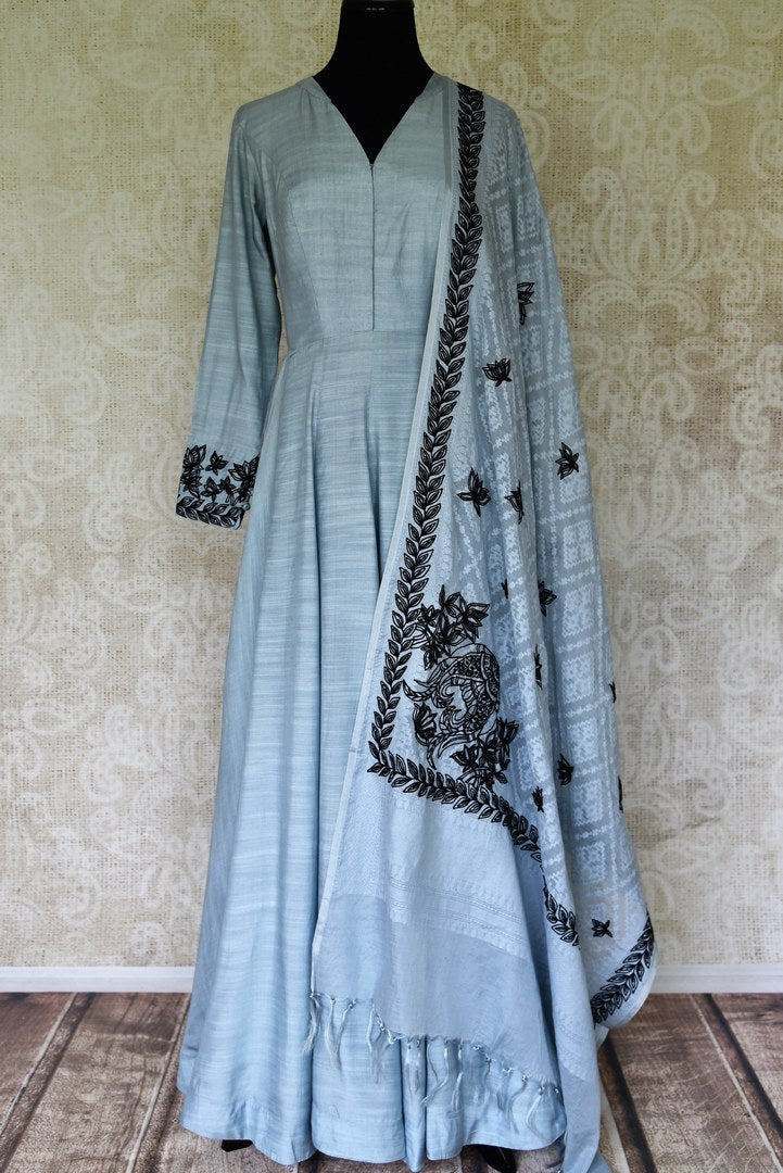 Buy chambray blue mulberry silk Anarkali suit online in USA with dupatta. Update your saree wardrobe with stunning Indian designer Anarkali suits from Pure Elegance Indian fashion store in USA. Shop now.-full view