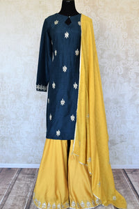 Shop beautiful blue and yellow gota work silk palazzo suit online in USA with dupatta. Keep your wardrobe update with latest Indian clothing from Pure Elegance Indian fashion store in USA. Shop beautiful Indian designer lehengas, Anarkali suits, gowns for Indian women in USA from our online store.-full view