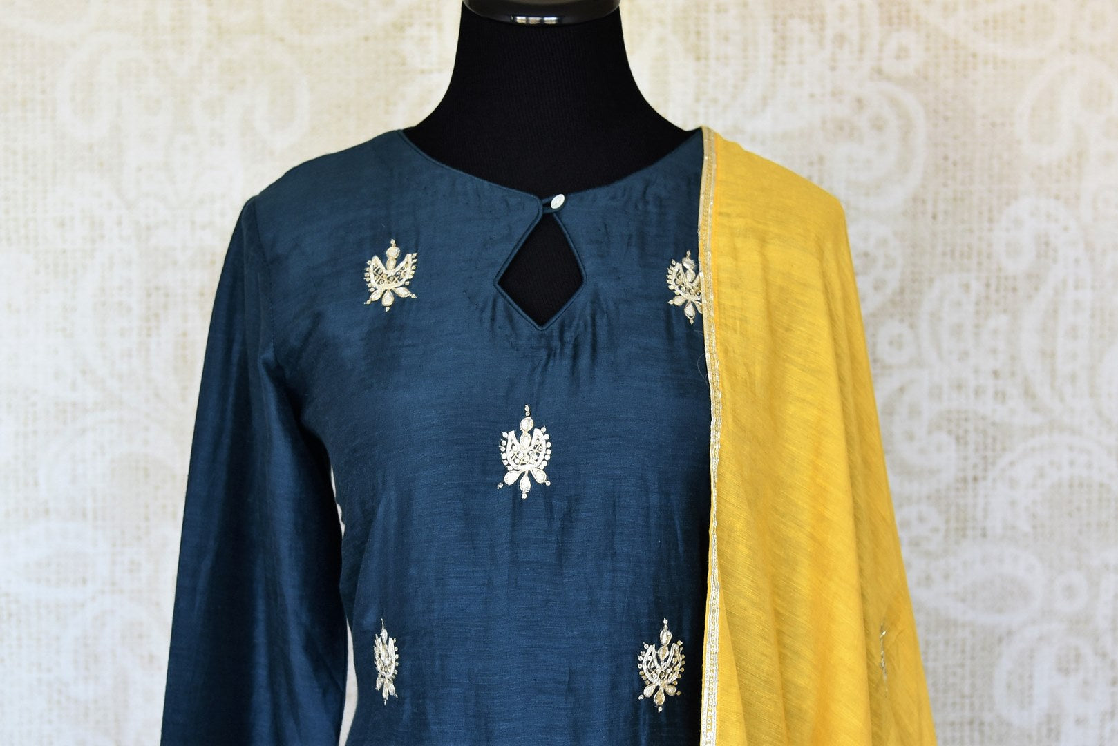 Shop beautiful blue and yellow gota work silk palazzo suit online in USA with dupatta. Keep your wardrobe update with latest Indian clothing from Pure Elegance Indian fashion store in USA. Shop beautiful Indian designer lehengas, Anarkali suits, gowns for Indian women in USA from our online store.-front