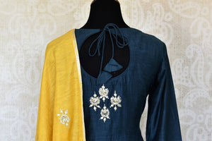 Shop beautiful blue and yellow gota work silk palazzo suit online in USA with dupatta. Keep your wardrobe update with latest Indian clothing from Pure Elegance Indian fashion store in USA. Shop beautiful Indian designer lehengas, Anarkali suits, gowns for Indian women in USA from our online store.-back