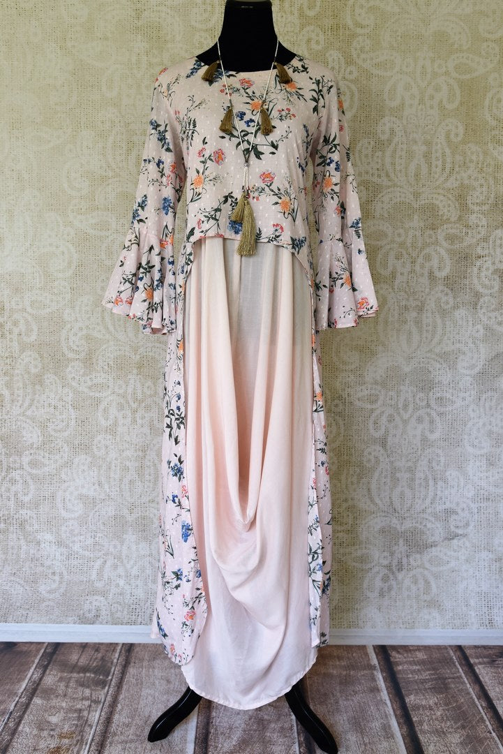 Shop powder pink printed cowl dress online in USA from Pure Elegance Indian fashion store in USA. Make a stylish fashion statement this summer with a range of exquisite Indian designer dresses available online and at our clothing store in USA. Shop now.-full view