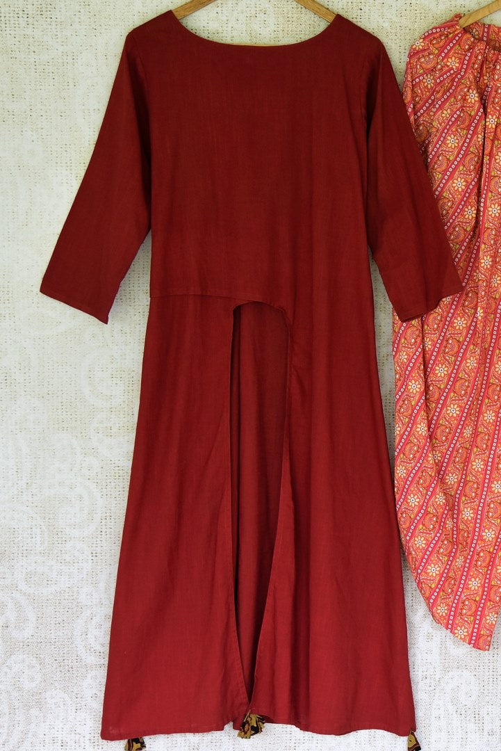 Buy maroon linen kurta online in USA with printed cotton salwar from Pure Elegance Indian fashion store in USA. Make a stylish fashion statement this summer with a range of exquisite Indian designer dresses available online and at our clothing store in USA. Shop now.-full view