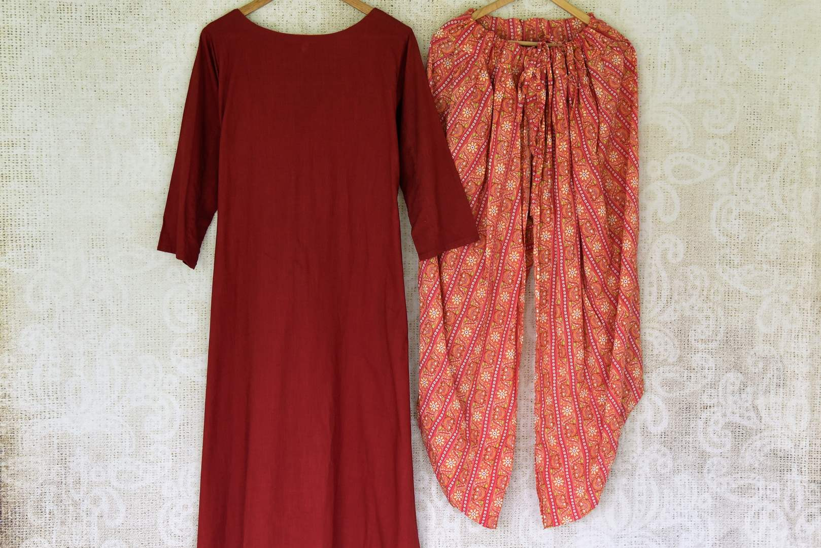 Buy maroon linen kurta online in USA with printed cotton salwar from Pure Elegance Indian fashion store in USA. Make a stylish fashion statement this summer with a range of exquisite Indian designer dresses available online and at our clothing store in USA. Shop now.-front