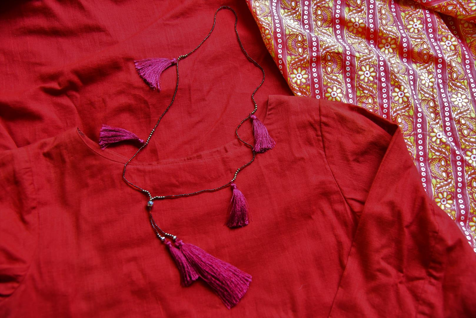 Buy maroon linen kurta online in USA with printed cotton salwar from Pure Elegance Indian fashion store in USA. Make a stylish fashion statement this summer with a range of exquisite Indian designer dresses available online and at our clothing store in USA. Shop now.-details