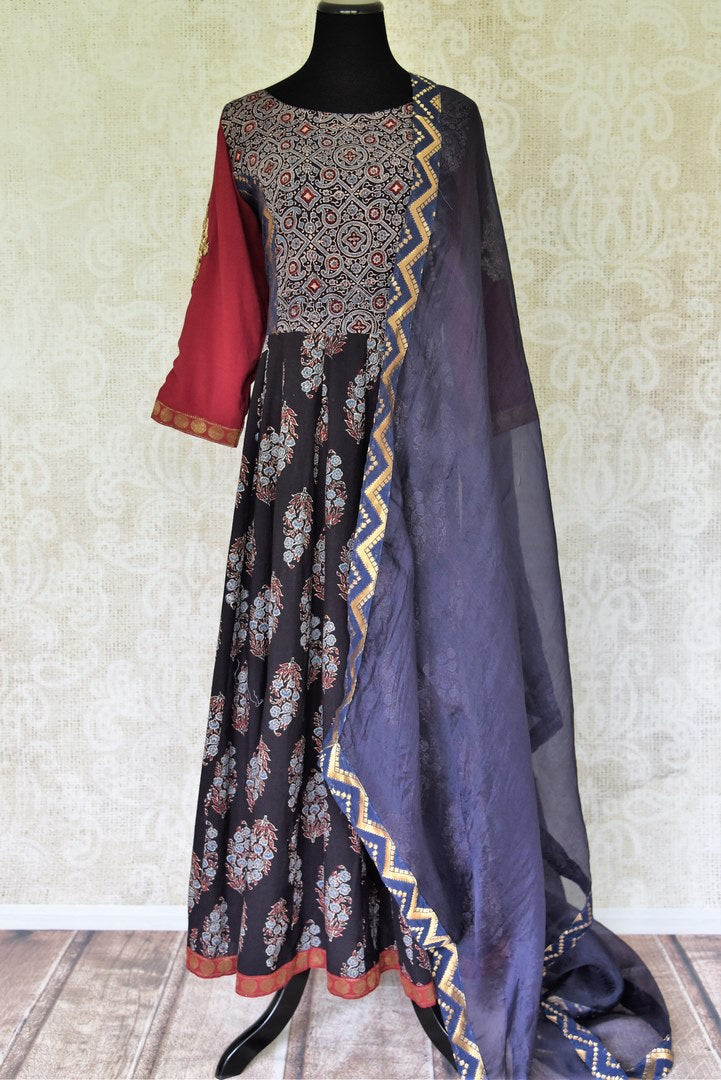 Shop beautiful black and blue printed suit online in USA with dupatta. Update your saree wardrobe with stunning Indian designer suits from Pure Elegance Indian fashion store in USA. Shop now.-full view