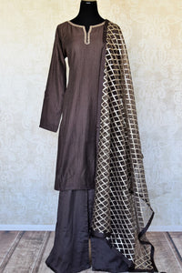 Shop dark grey handwork silk palazzo suit online in USA with dupatta. Make fashionable choices with latest Indian designer clothes from Pure Elegance Indian fashion store in USA. Shop traditional Anarkali suits, designer lehengas for Indian brides in USA from our online store.-full view