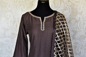 Shop dark grey handwork silk palazzo suit online in USA with dupatta. Make fashionable choices with latest Indian designer clothes from Pure Elegance Indian fashion store in USA. Shop traditional Anarkali suits, designer lehengas for Indian brides in USA from our online store.-front