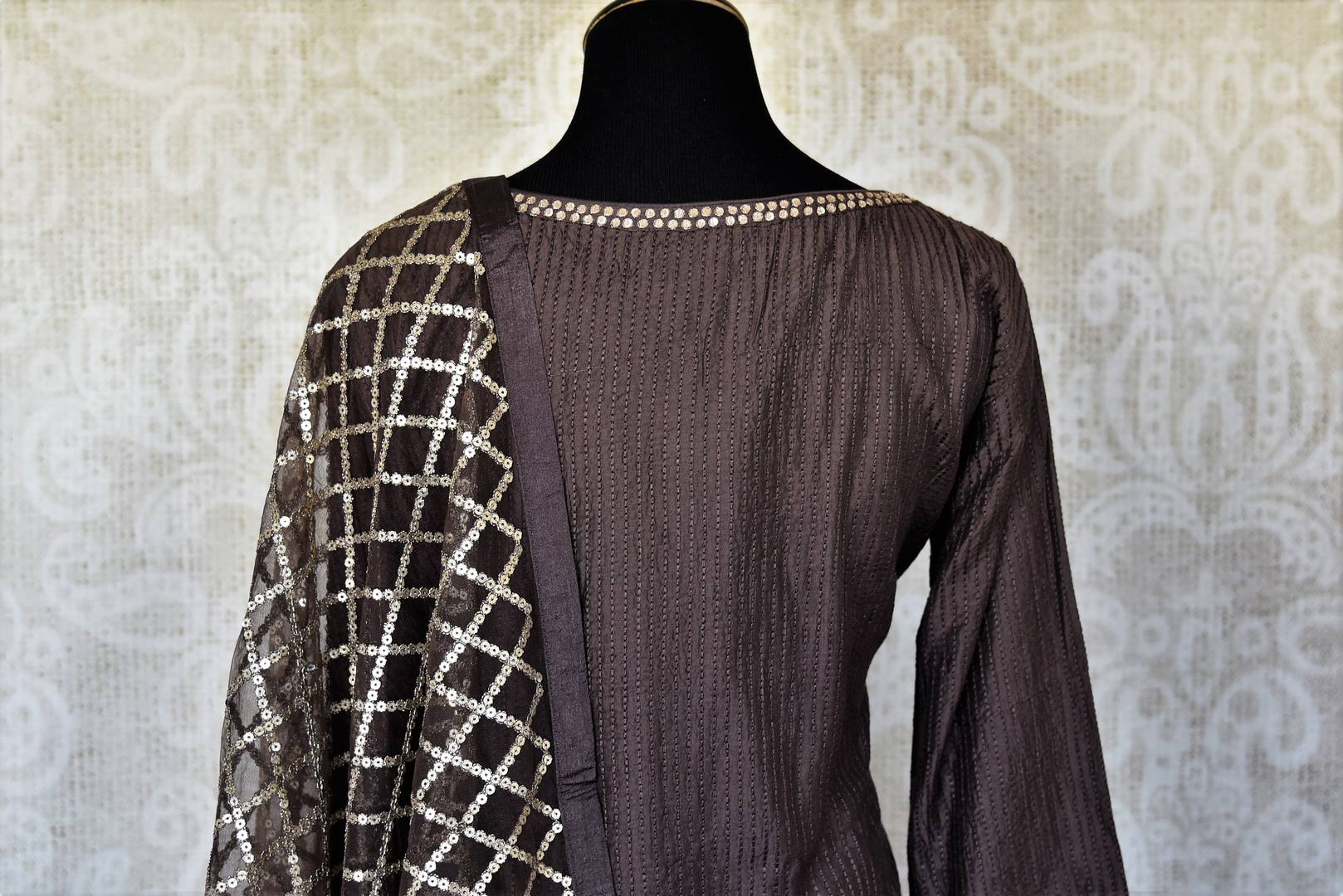 Shop dark grey handwork silk palazzo suit online in USA with dupatta. Make fashionable choices with latest Indian designer clothes from Pure Elegance Indian fashion store in USA. Shop traditional Anarkali suits, designer lehengas for Indian brides in USA from our online store.-back