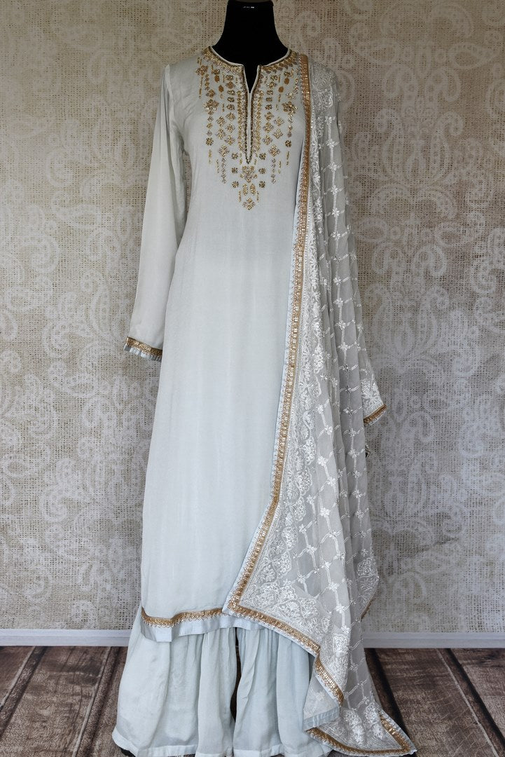 Shop powder blue handwork crepe silk palazzo suit online in USA with dupatta. Make fashionable choices with latest Indian designer clothes from Pure Elegance Indian fashion store in USA. Shop traditional Anarkali suits, designer lehengas for Indian brides in USA from our online store.-full view