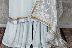 Shop powder blue handwork crepe silk palazzo suit online in USA with dupatta. Make fashionable choices with latest Indian designer clothes from Pure Elegance Indian fashion store in USA. Shop traditional Anarkali suits, designer lehengas for Indian brides in USA from our online store.-palazzo